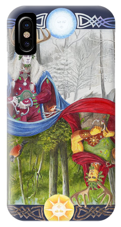 Pagan IPhone X Case featuring the painting The Holly King And The Oak King by Melissa A Benson