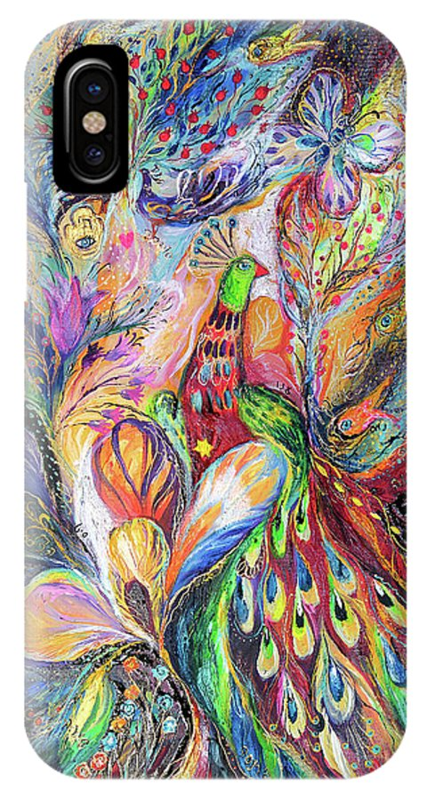 Original IPhone X Case featuring the painting The King Bird by Elena Kotliarker