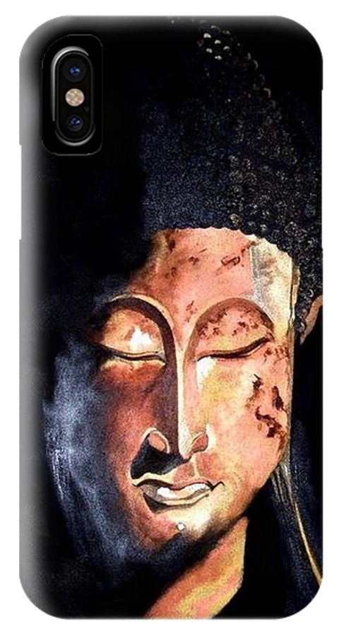 Buddha IPhone X Case featuring the painting The Madas Buddha by Jane Simpson