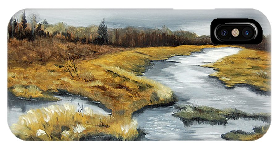 Marsh IPhone X Case featuring the painting The Marsh by Mary Tuomi