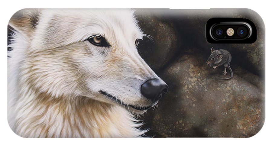 Acrylic IPhone X / XS Case featuring the painting The Mouse by Sandi Baker
