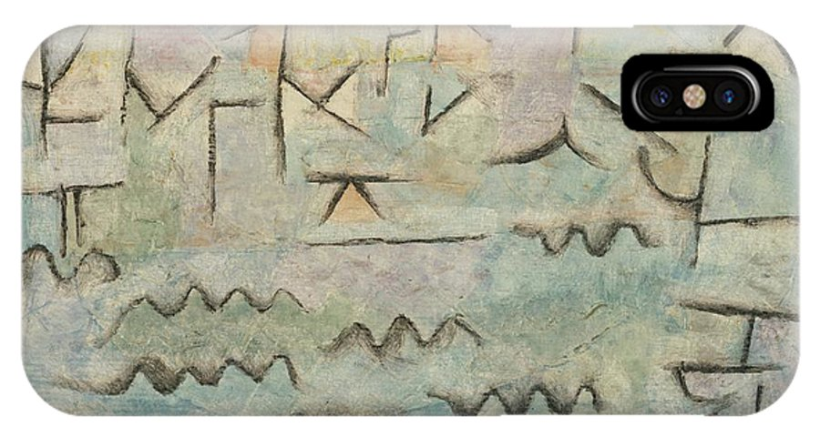 Paul Klee The Rhine At Duisburg IPhone X Case featuring the painting The Rhine At Duisburg by Paul Klee