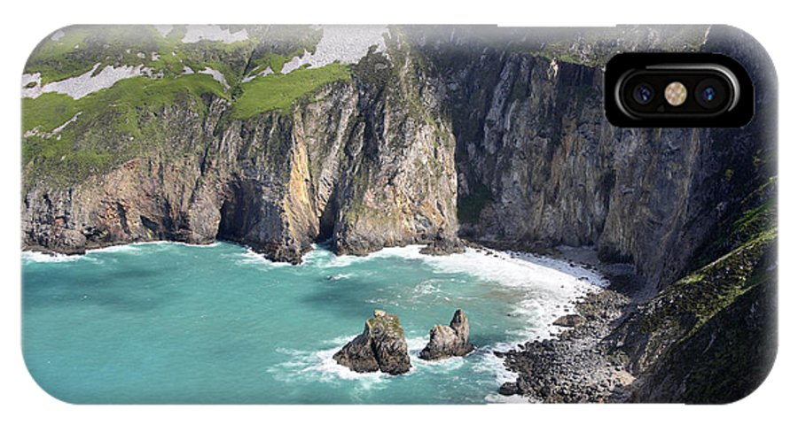 Slieve League IPhone X Case featuring the photograph The Turquoise Water At Slieve League Sea Cliffs Donegal Ireland by Pierre Leclerc Photography