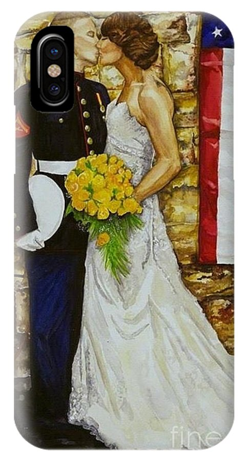 Wedding IPhone X / XS Case featuring the painting The Wedding by Kathy Laughlin