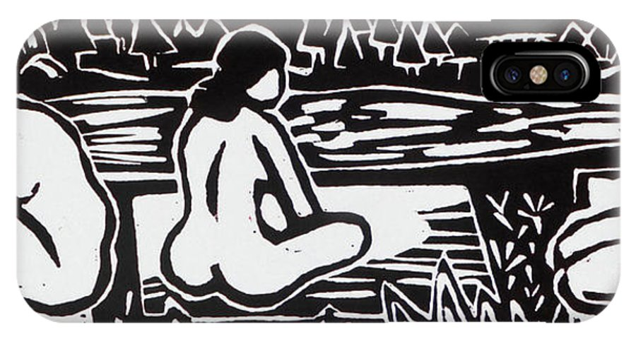 Woodcut IPhone X Case featuring the drawing Three Bathers by Phillip Castaldi