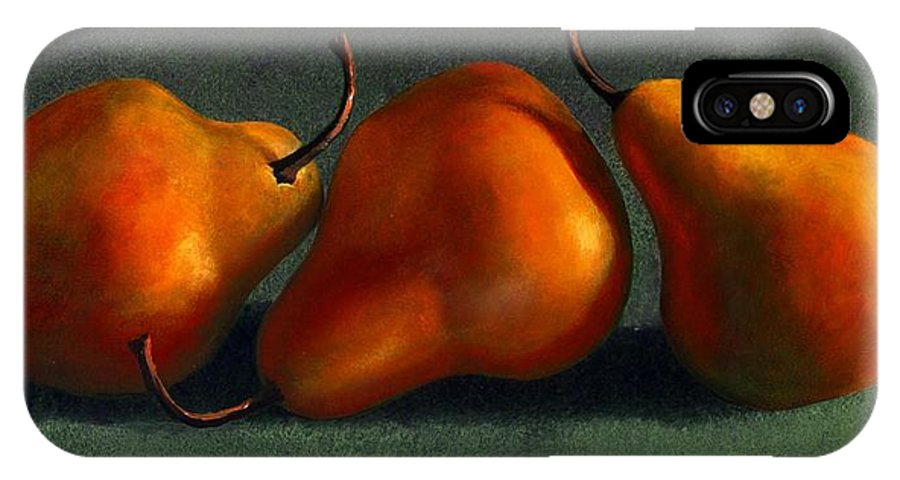 Still Life IPhone X Case featuring the painting Three Golden Pears by Frank Wilson