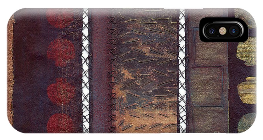 3panel IPhone X Case featuring the painting Three Panel Transitional Page Format by Kerryn Madsen- Pietsch