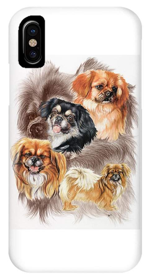 Toy Group IPhone X Case featuring the mixed media Tibetan Spaniel W/ghost by Barbara Keith