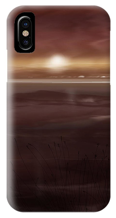 Seascape IPhone X Case featuring the painting Tide Flats At Dusk by Anne Norskog