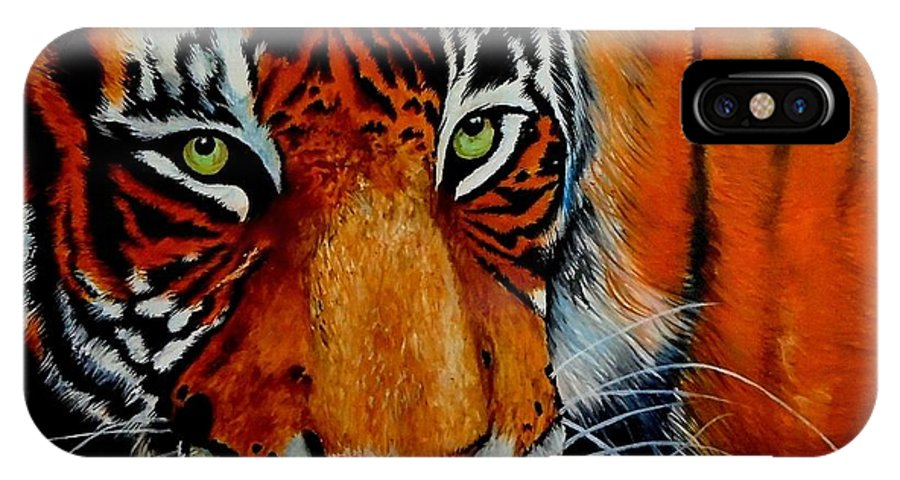 Tiger IPhone X Case featuring the painting Tiger, Tiger Burning Bright... by Dhammika Bandara