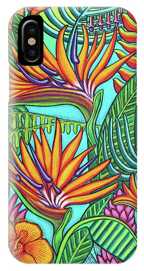Tropical IPhone X Case featuring the painting Tropical Gems by Lisa Lorenz