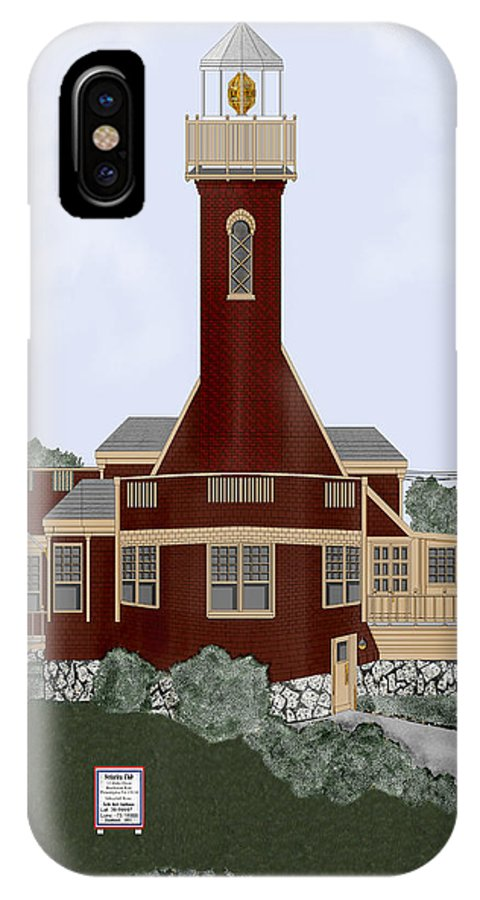 Lighthouse IPhone X Case featuring the painting Turtle Rock Lighthouse by Anne Norskog