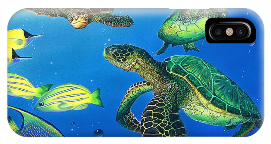 Turtle IPhone X Case featuring the painting Turtle Towne by Angie Hamlin
