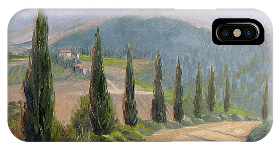 Landscape IPhone X Case featuring the painting Tuscany Road by Jay Johnson