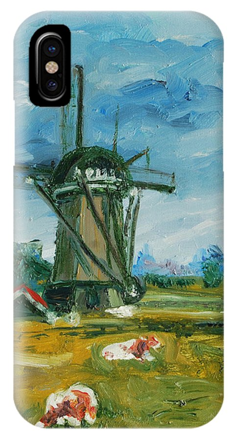 Farm IPhone X Case featuring the painting Two Cows by Rick Nederlof