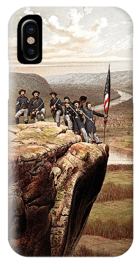 Civil War IPhone X Case featuring the painting Union Soldiers On Lookout Mountain by War Is Hell Store