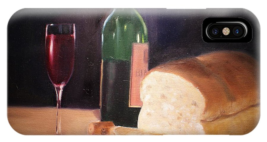 Wine IPhone X Case featuring the painting Untitled by Toni Berry