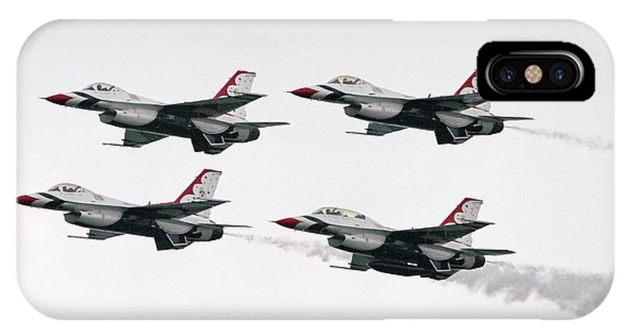 Aircraft IPhone X Case featuring the photograph Usaf Thunderbirds by Victor Alcorn