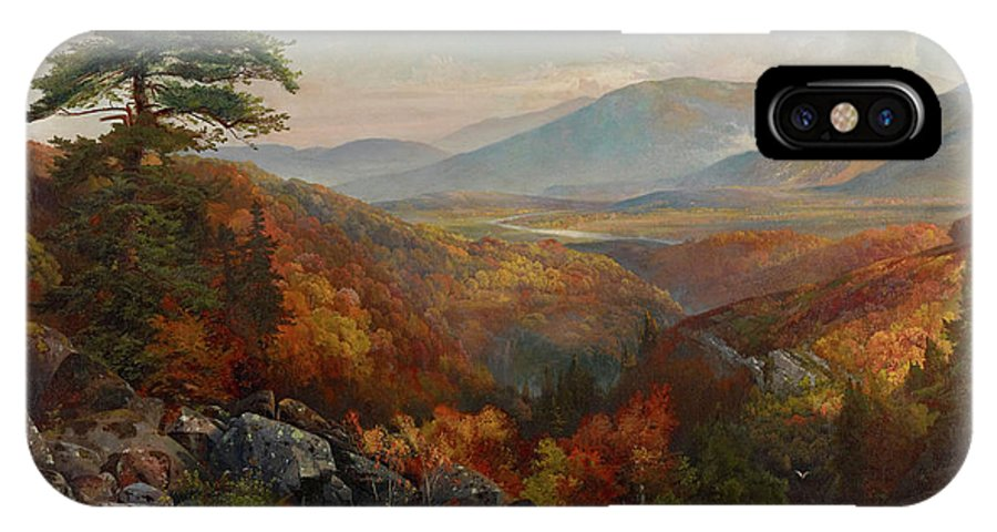 Autumn IPhone X Case featuring the painting Valley Of The Catawissa In Autumn by Thomas Moran