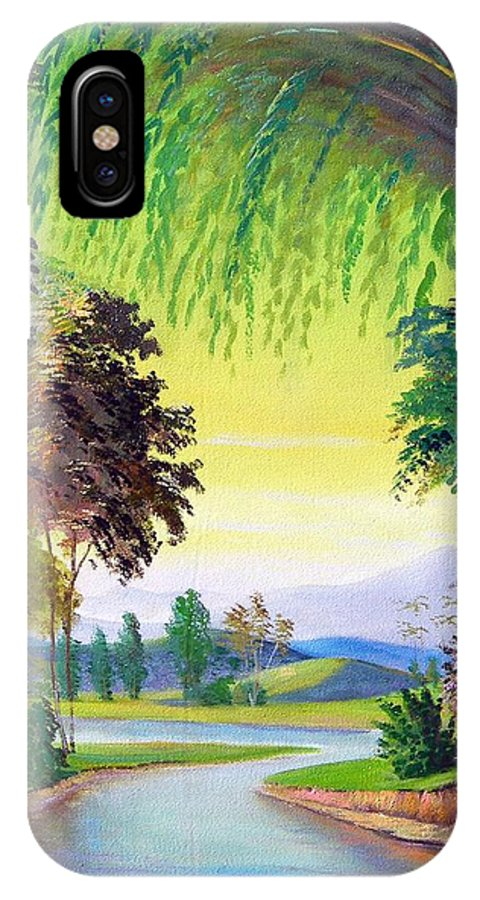 Landscape IPhone X Case featuring the painting Verde Que Te Quero Verde by Leomariano artist BRASIL