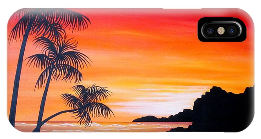 Sunset IPhone X Case featuring the painting Watching the Sunset by Carol Sabo