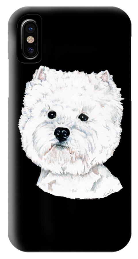 West Highland White Terrier IPhone X Case featuring the drawing West Highland White Terrier, Westie by Kathleen Sepulveda