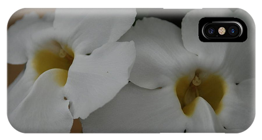 Macro IPhone X Case featuring the photograph White Orchids by Rob Hans