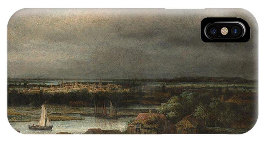 Philips Koninck Wide River Landscape IPhone X Case featuring the painting Wide River Landscape by Philips Koninck