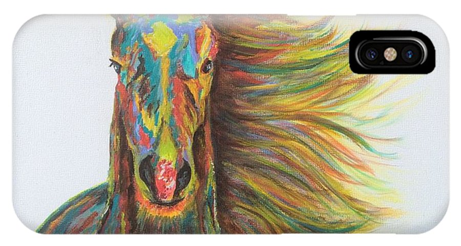 Horse IPhone X / XS Case featuring the painting Wildfire by Diane Hoffman