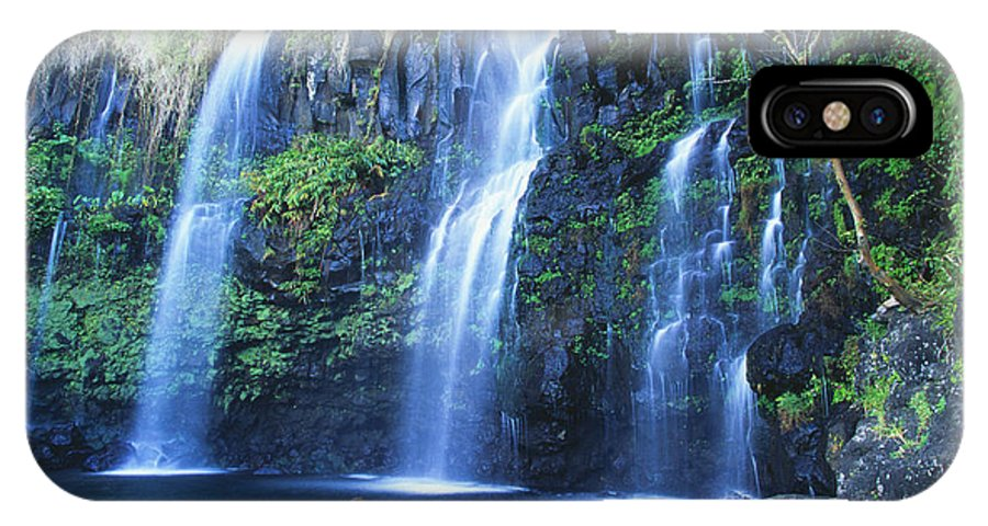 Base IPhone X Case featuring the photograph Woman At Waterfall by Dave Fleetham - Printscapes