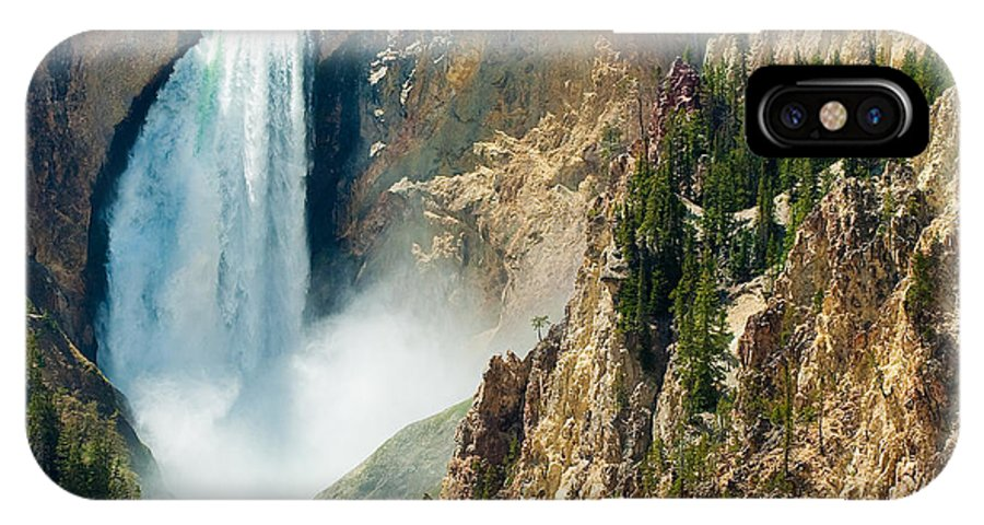 Yellowstone IPhone X Case featuring the photograph Yellowstone Waterfalls by Sebastian Musial