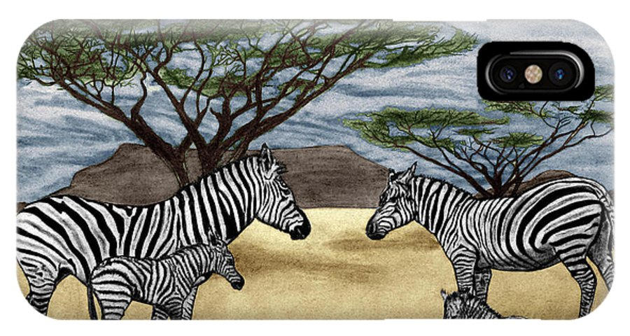 Zebra African Outback IPhone X Case featuring the drawing Zebra African Outback by Peter Piatt