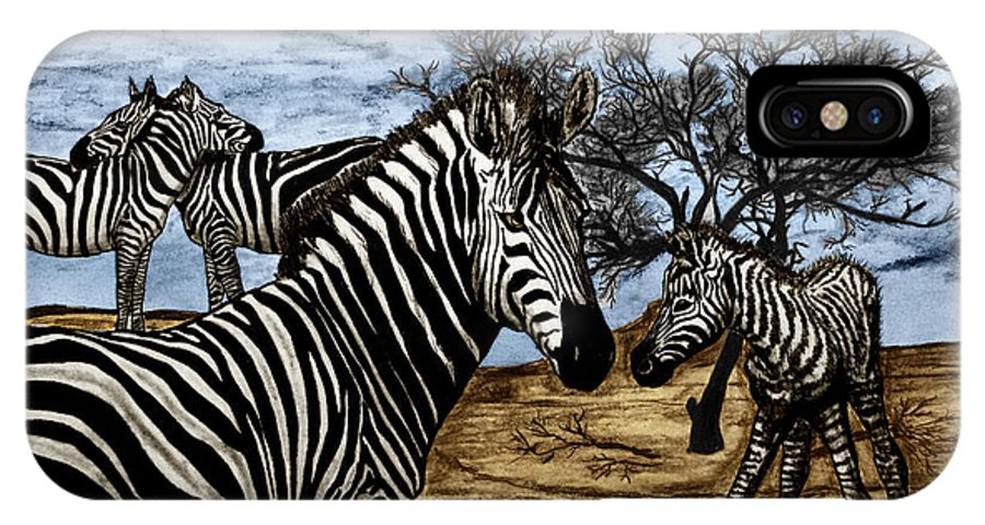 Zebra Outback IPhone X Case featuring the drawing Zebra Outback by Peter Piatt