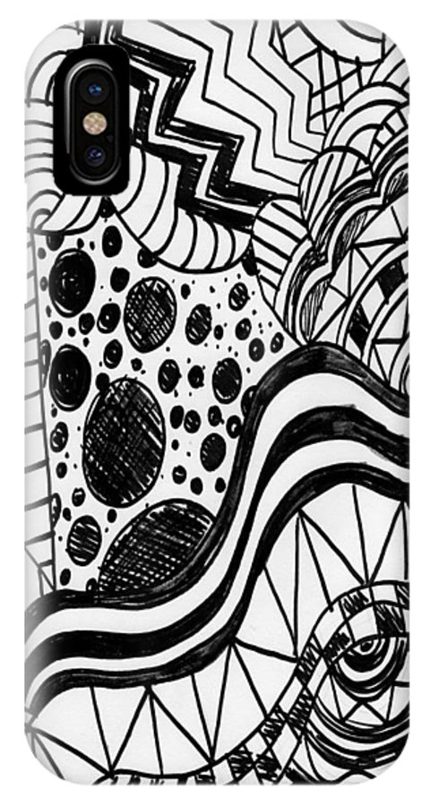 Zendoodle Designs IPhone X Case featuring the drawing Zendoodle Design by Alicia Counter