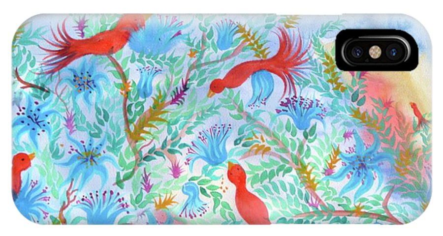 Flower IPhone X / XS Case featuring the digital art Birds Symphony by Sandrine Kespi