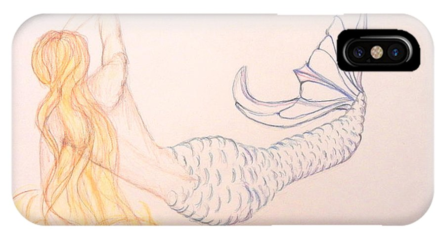 Mermaid IPhone X Case featuring the drawing Mermaid by M Gilroy