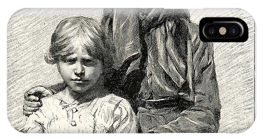 1896 Wood Engraving Gaston Vuillier Corsican Woman Child Native Portrait. Woman IPhone X Case featuring the painting Portrait by MotionAge Designs
