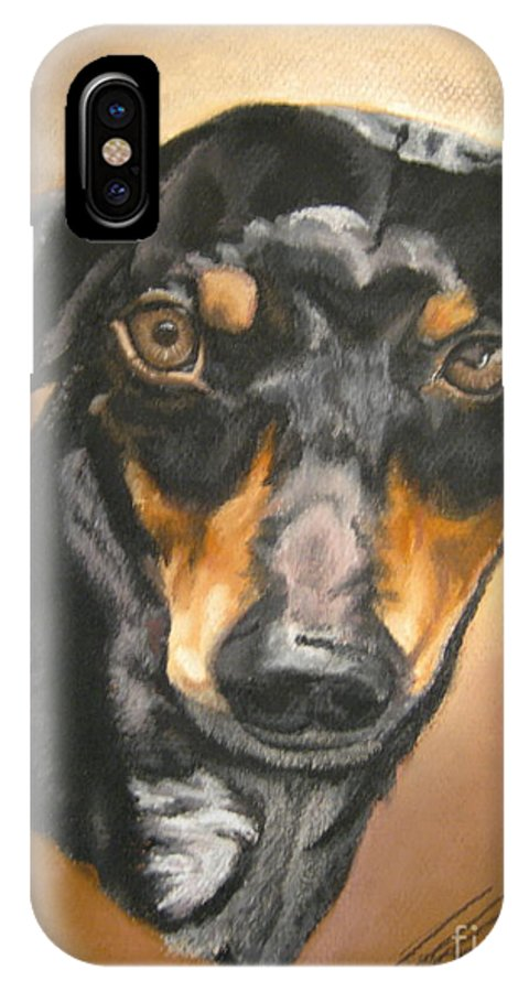 Dachsund IPhone X Case featuring the pastel Untitled by John Huntsman