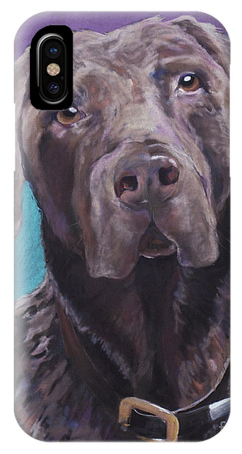 Pet Portrait Commissions IPhone X Case featuring the pastel 100 Lbs. Of Chocolate Love by Pat Saunders-White