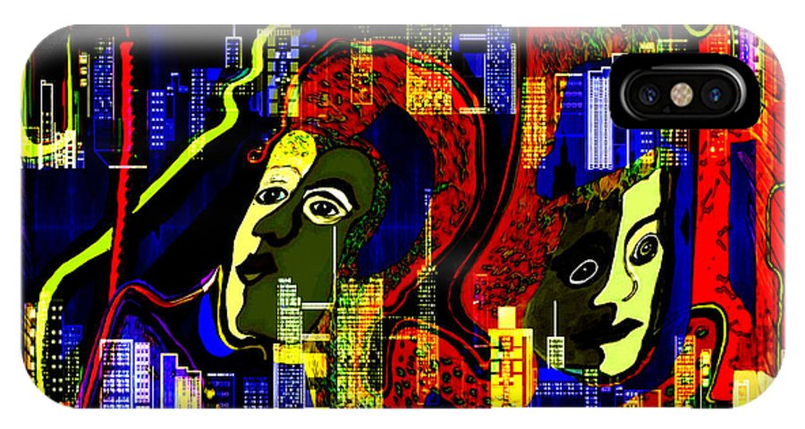 Mysterious IPhone X Case featuring the painting 103 -  Psychedelic City Night .. by Irmgard Schoendorf Welch