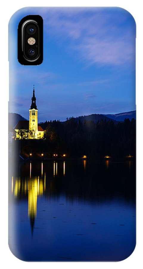 Bled IPhone X Case featuring the photograph Dusk Over Lake Bled by Ian Middleton