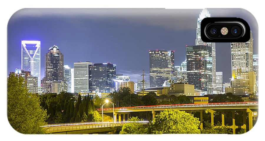 Carolinas IPhone X Case featuring the photograph Downtown Of Charlotte North Carolina Skyline by Alex Grichenko