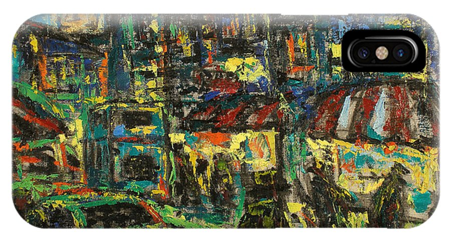 People IPhone X Case featuring the painting City by Robert Nizamov