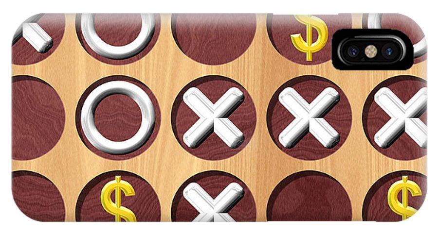 Tic IPhone X / XS Case featuring the digital art Tic Tac Toe Wooden Board Generated Seamless Texture by Miroslav Nemecek