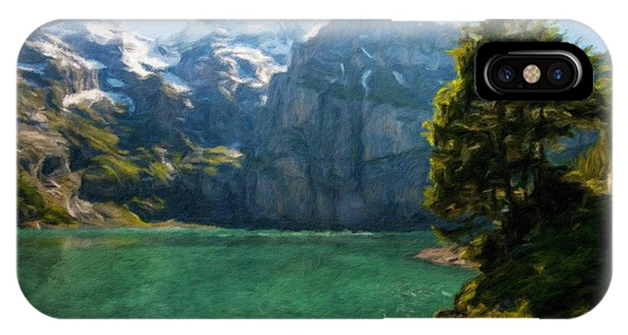 Landscape IPhone X Case featuring the painting Nature Art Landscape by World Map