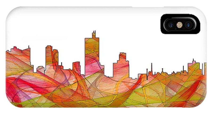Fort Worth Texas Skylineskyline IPhone X Case featuring the digital art Fort Worth Texas Skyline by Marlene Watson