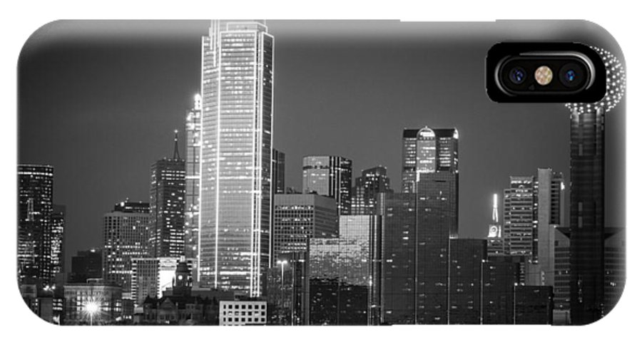 Dallas Tx IPhone X Case featuring the photograph 14-0905-145 Dallas Tx Skyline Bw by Lee Smoot