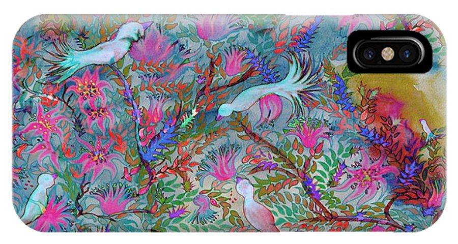 Flower IPhone X / XS Case featuring the digital art Birds Symphony by Sandrine Kespi