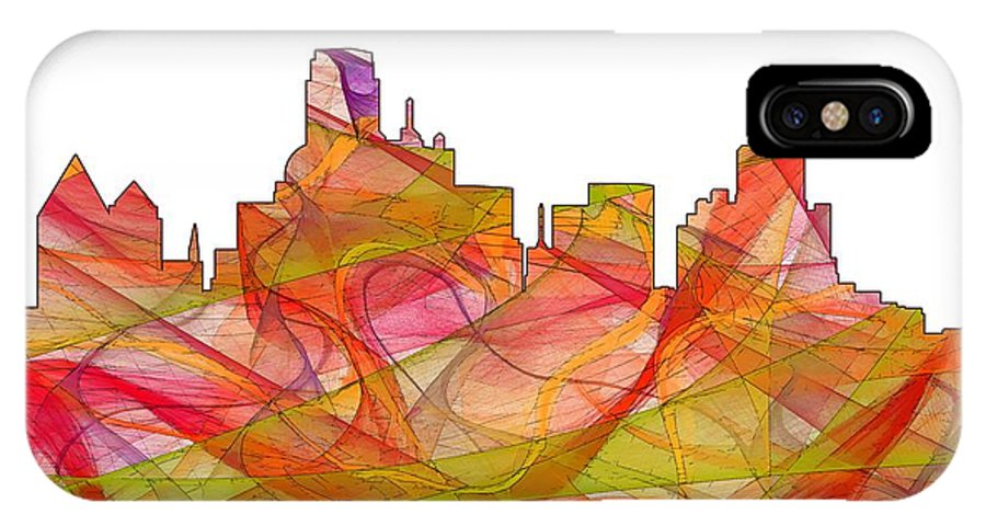Dallas Texas Skylineskyline IPhone X Case featuring the digital art Dallas Texas Skyline by Marlene Watson