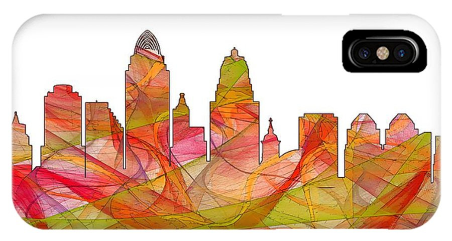 Cincinnati Ohio Skyline Skyline IPhone X Case featuring the digital art Cincinnati Ohio Skyline by Marlene Watson